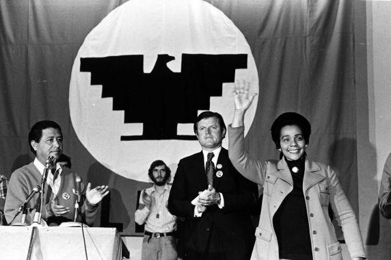 Cesar Chavez with Senator Edward (Ted) Kennedy and Coretta Scott King at a rally in the 1970s