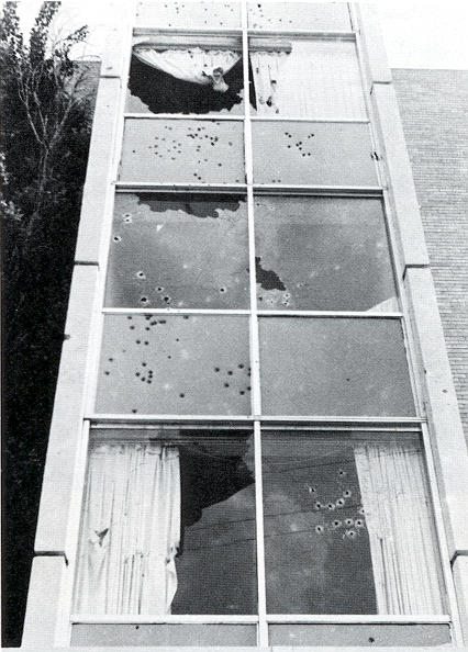 Forty Jackson police officers and Mississippi State Highway Patrolmen fired over 140 rounds into Alexander Hall during a 30-second barrage that shattered every window and penetrated the interior, killing two and injuring 12.
