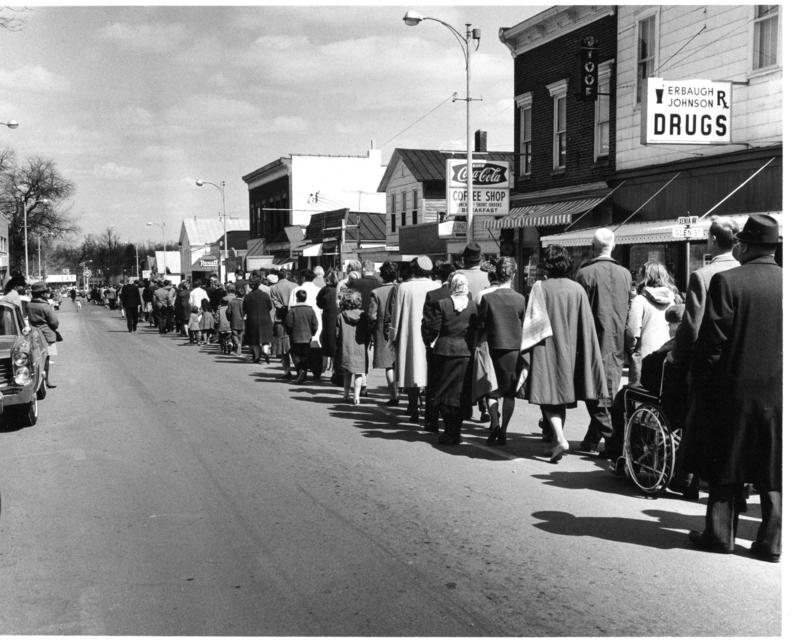 Marchers mourning the death of four black children killed in the 1963 Alabama church bombing.