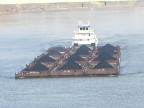 Coal is shipped by barge down the Ohio River.