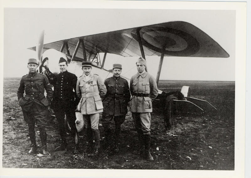 James McConnell who wrote of being over Verdun on the far left of this group of Lafayette Escadrille pilots.  Also, from left to right, American Kiffin Rockwell, the French Commander,Col. Georges Thenault, Americans Norman Prince and Victor Chapman