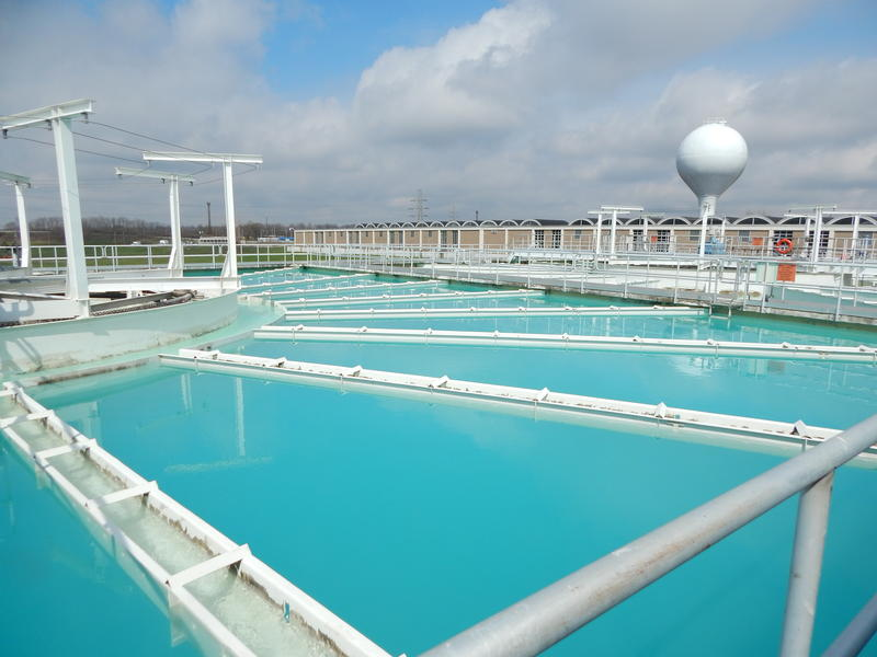 Water is softened in giant pools at Dayton's water treatment plant. The city syst em serves 400,000 people in the city and suburbs