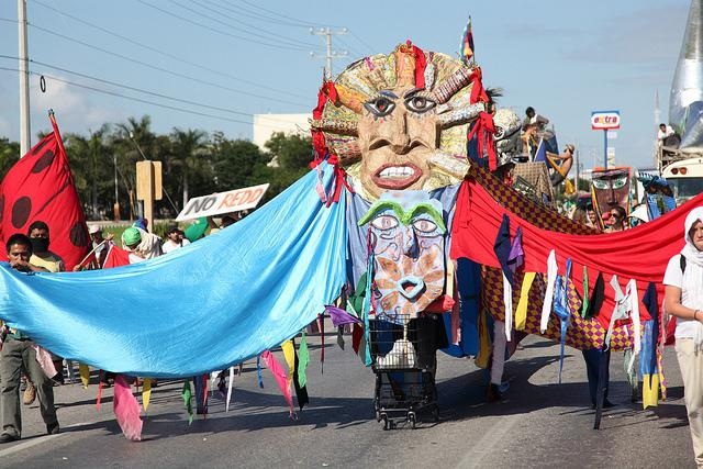 Demonstrators at the 2010 Cancun Climate Summit.