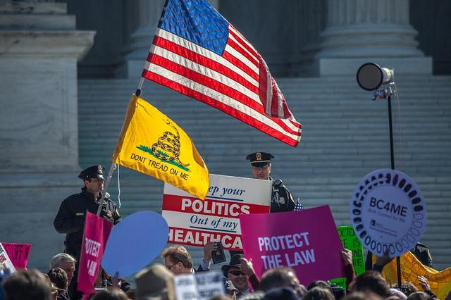 Protesters in Washington, D.C. speaking out against the Affordable Care Act in its early days.