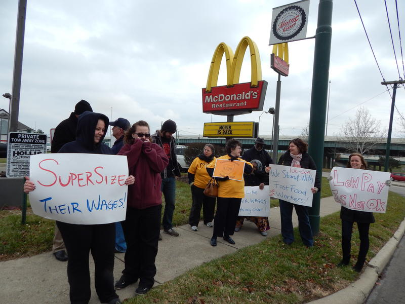 Minimum wage activists demonstrated in Dayton in December 2013.