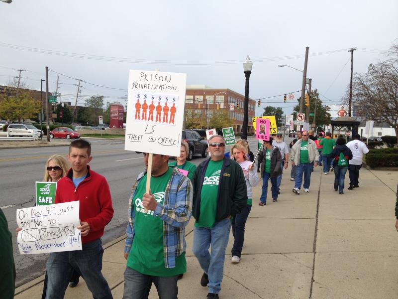 Prison guards and supporters picketed Monday outside the Ohio Department of Rehabilitation and Correction in Columbus.