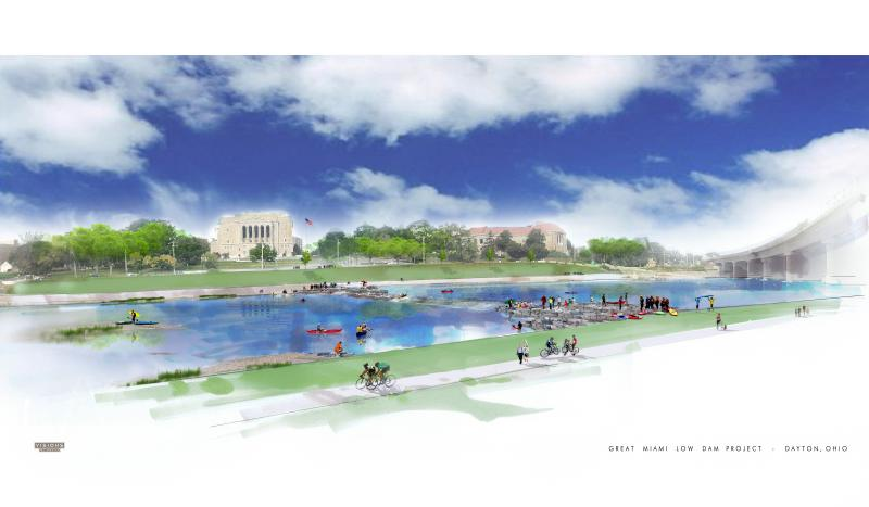 An artist's rendering of the new kayak run plan along the Great Miami River in downtown Dayton.