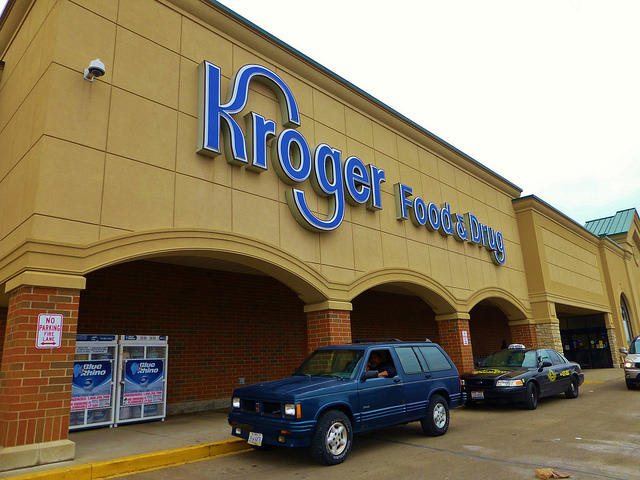 Kroger in Huber Heights. Experts say if customers show they are willing to drive a few miles to a suburban location, it takes away the incentive for chains to build in limited downtown space. grocery store food