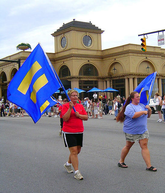The Human Rights Campaign marches at Columbus gay pride in 2007.