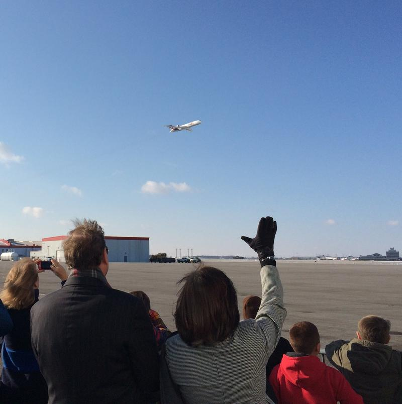 More than 100 people welcomed a donated jet from FedEx at the Dayton International Airport.
