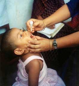 A child receives immunization for polio