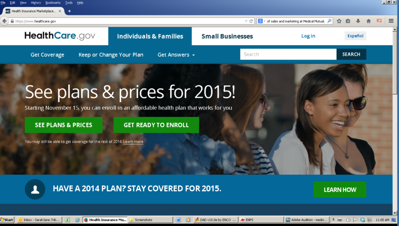 A screen shot from healthcare.gov, the website for the Affordable Care Act health plans.