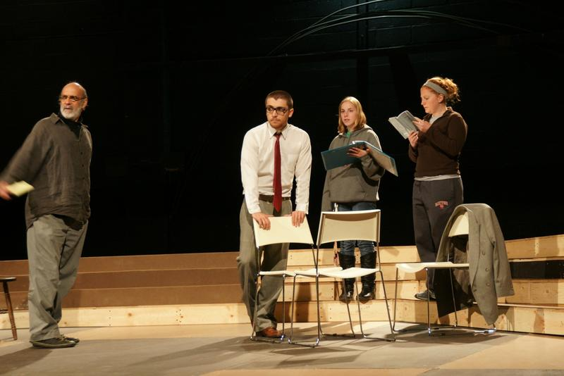 "Tony Dallas (far left) as director in rehearsal with ""Antigone"" at the University of Dayton with Alex Chilton (Creon), Jessica Urban (stage manager) and Annie Blankenship (Eurydice)."