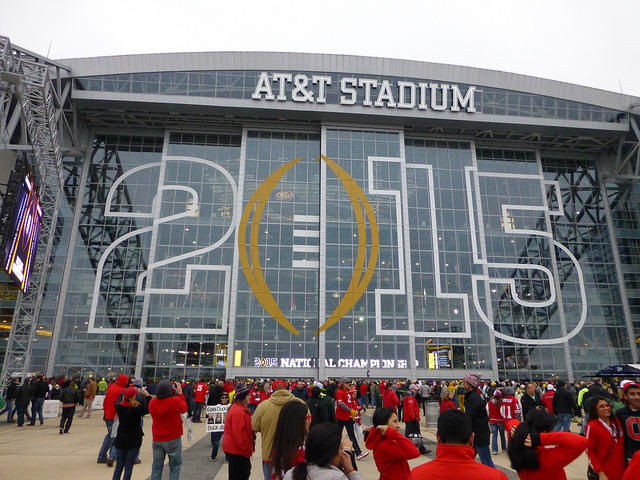 Ohio State Ohio State fans gather before the national championship game in Texas in January, 2015. Fans in Columbus rioted after the game.