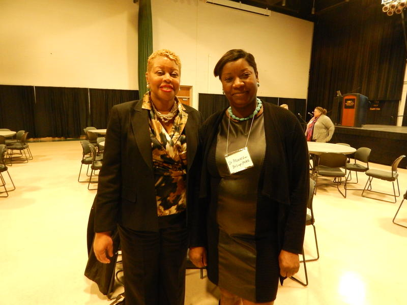 Dr. Kimberly Barrett (left) and Dr. Joann Wright Mawasha organized the forum at Wright State along with Dayton Police.