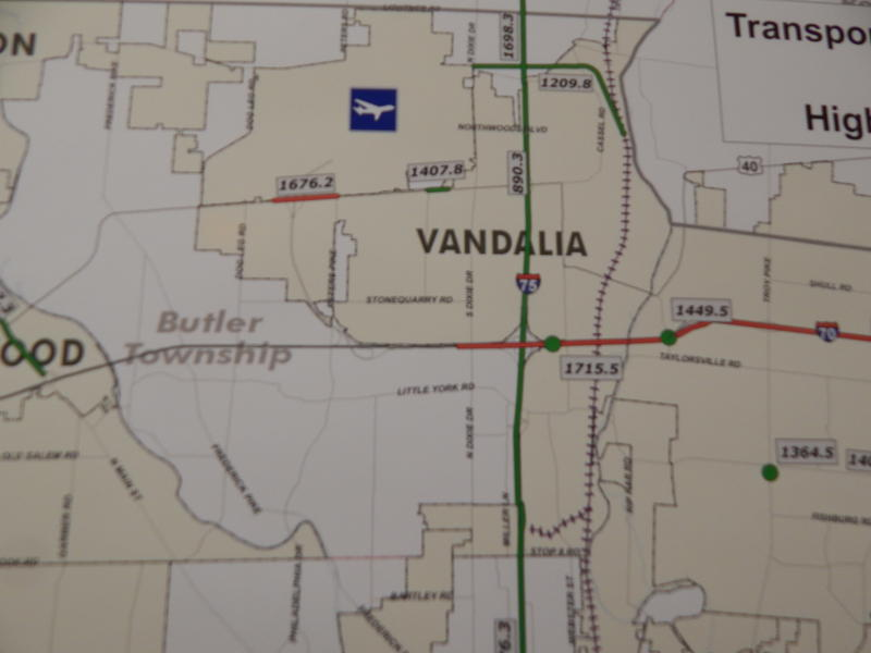 A map provided by the Miami Valley Regional Planning Commission shows the rail spur crossing I-75 to the airport.