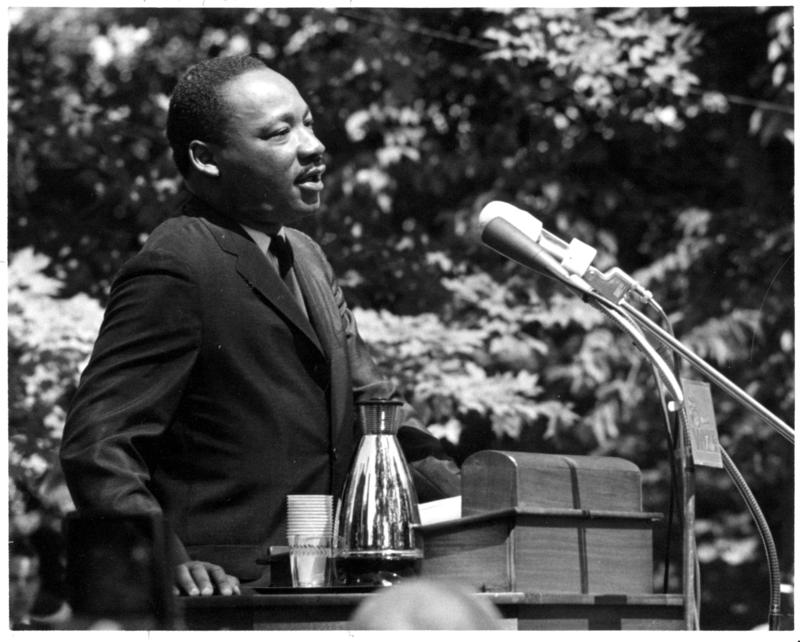 The Reverend Dr. Martin Luther King, Jr. delivering the commencement address at Antioch College in 1965
