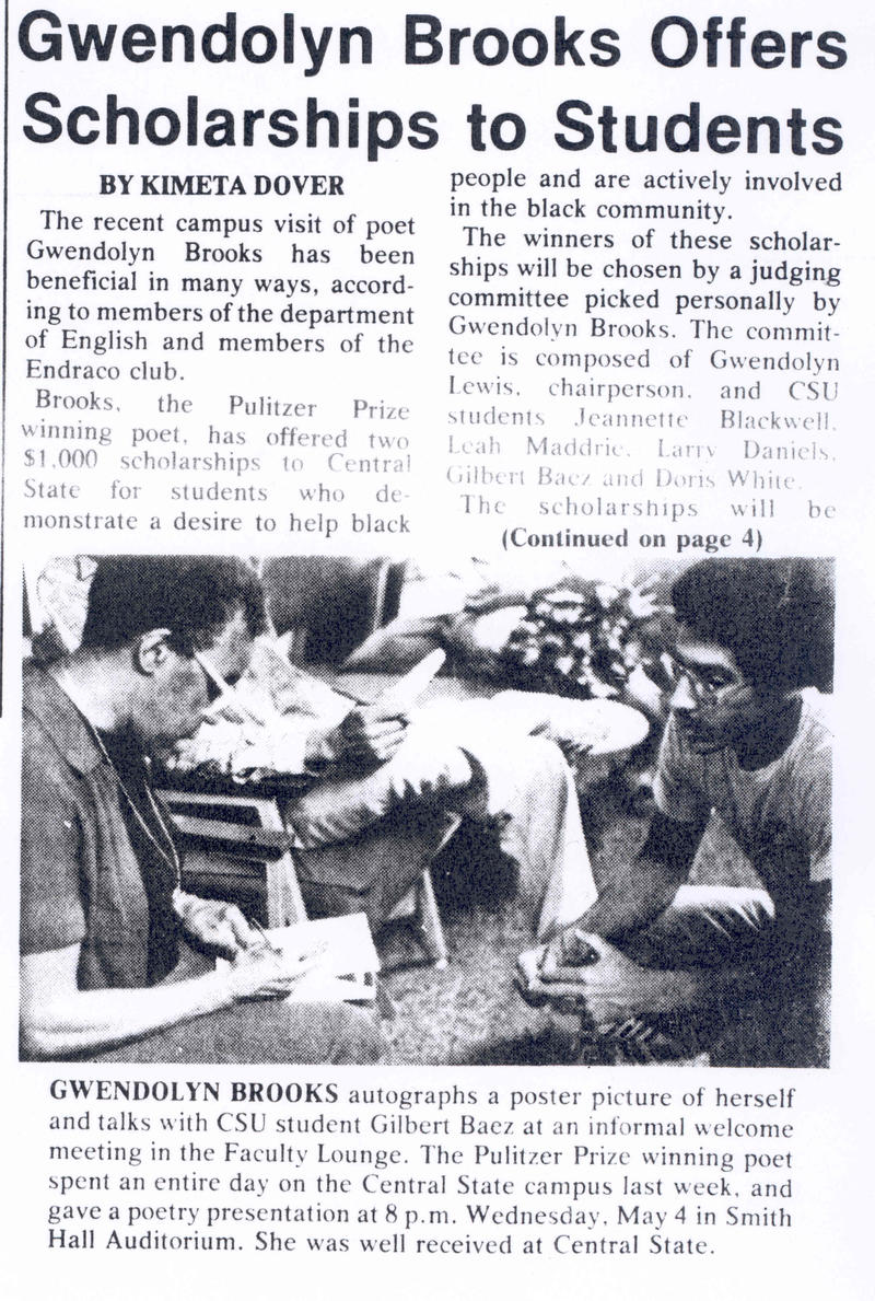 An article about Gwendolyn Brooks' visit to Central State University