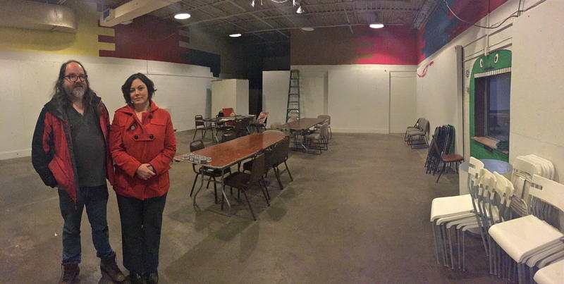 "Partners Jeff Opt and Erin Vasconcelos hope to turn this room in the Old Yellow Cab Building into a ""maker Space."""
