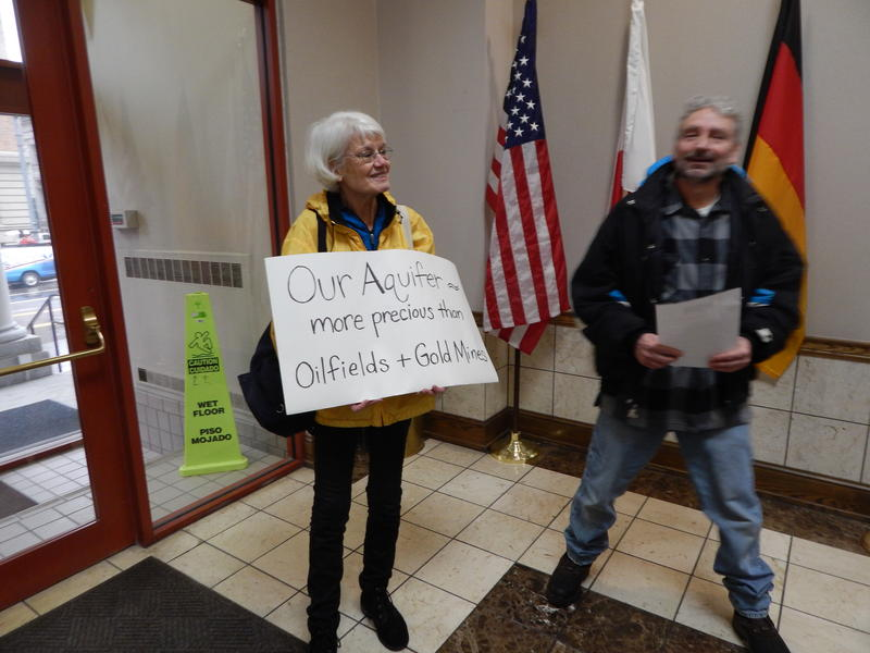 Marie Geisel joined the Dayton Citizens Water Brigade on Tuesday before a packed plan board meeting.