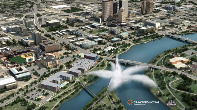 A sketch of the future Water Street District in downtown Dayton on the riverfront.