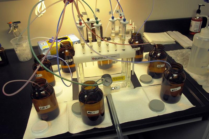 Bottles of Lake Erie water are tested in a lab.
