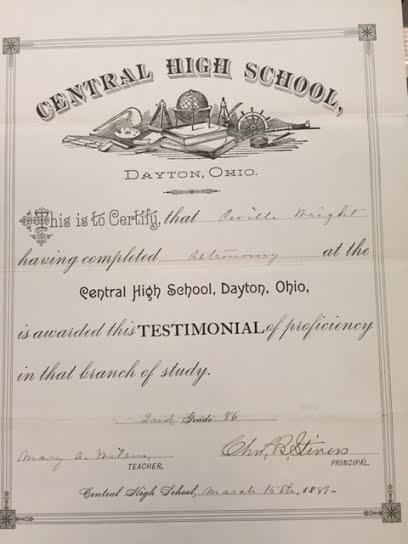A Central High certificate declares Orville Wright's proficiency in astronomy.