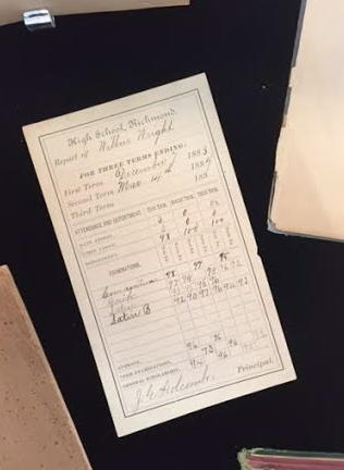 Wilbur Wright's report card dating back to the 1880's.