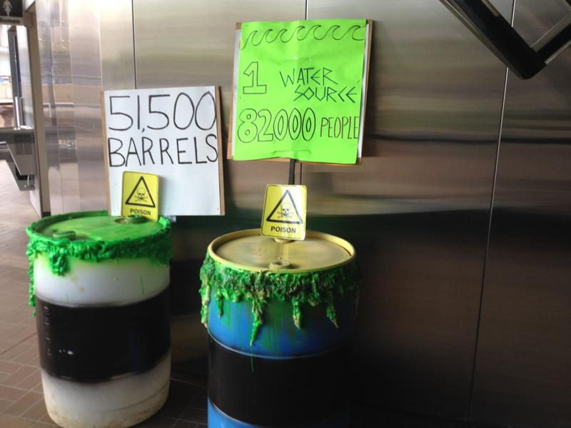 People for Safe Water displayed examples of the barrels containing hazardous waste at the Tremont City Barrel Fill.