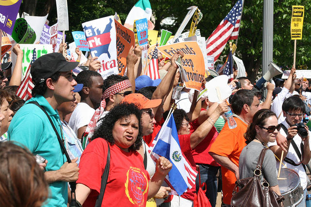 Demonstrators at a 2010 protest in Washington D.C. demanding immigration reform. Several efforts since have failed in Congress.