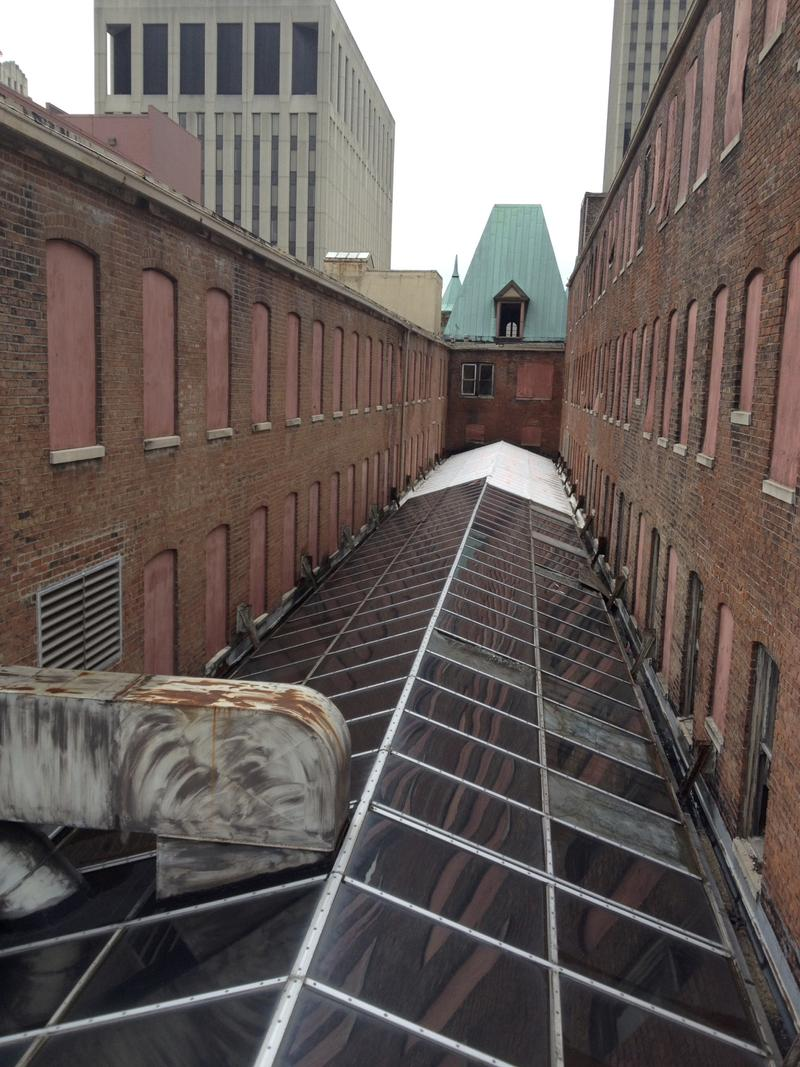 The roof of the Arcade. The building has recently sustained water damage.