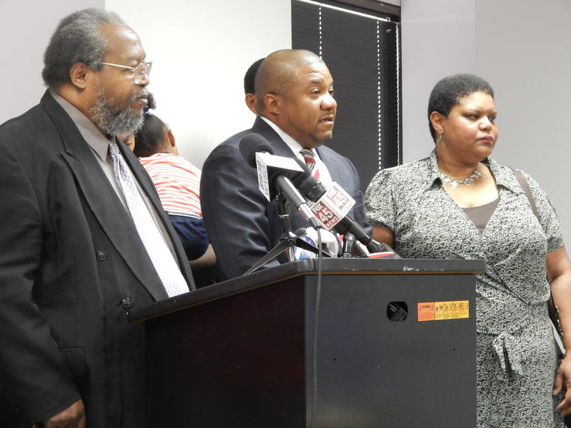 From left to right, Bishop Richard Cox with SCLC, Attorney Michael Wright, and Patricia Martin, Dontae Martin's mother