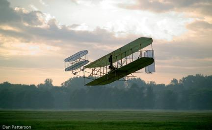 Mark Dussenberry over Huffman Prairie in replica 1905 Flyer III