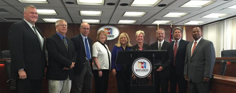 Montgomery County Commision President Debbie Leiberman (center) and other county and business leaders annouce $2.7 million awarded to the county for workforce development.
