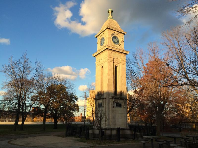 The clock tower at Cudell has long been a symbol for the neighborhood. Tamir Rice