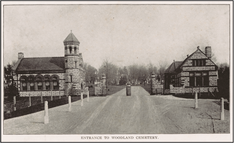 Woodland Cemetery entrence on Woodland Avenue.
