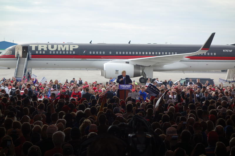 Donald Trump appeared at the Dayton International Airport Saturday