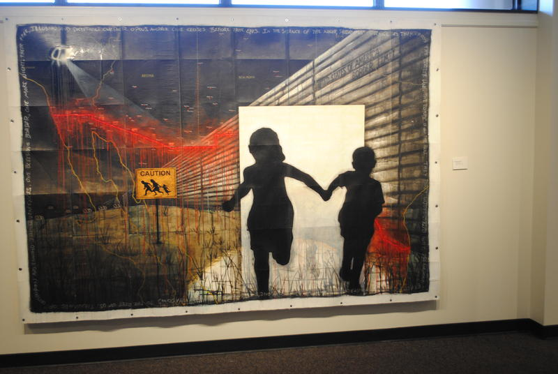 "Sergio Gomez's work ""The Bleeding Border"" was the piece used to promote Latino Art of the Midwest at the University of Dayton. Gomez is based in Chicago."