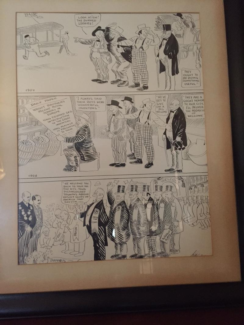This cartoon depicts the evolution of perception the Wright Brothers experienced following a successful trip to Paris.