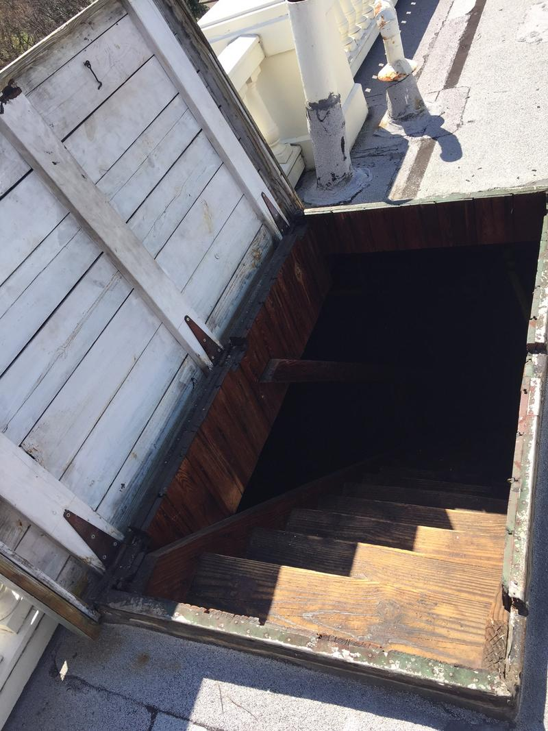 A trapdoor in the attic leads to the roof and the 'Widow's Walk.'