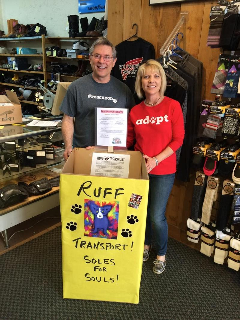 Gary and Cathy Turnipseed, Xenia OH, kicking off the Ruff Transport Shoe Drive, Spring 2016.