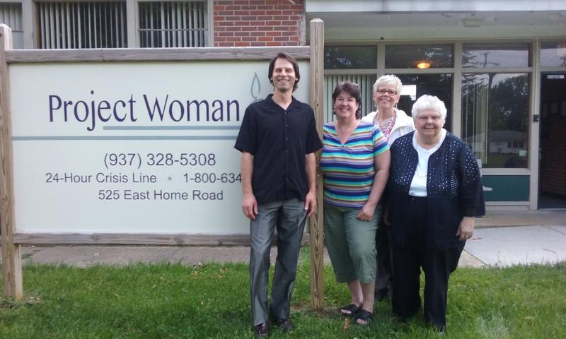 Staff workers at Project Woman. Jeff Smith (right), Nina Naufahu, Joy Folden (back), and Janet Thomas (left).