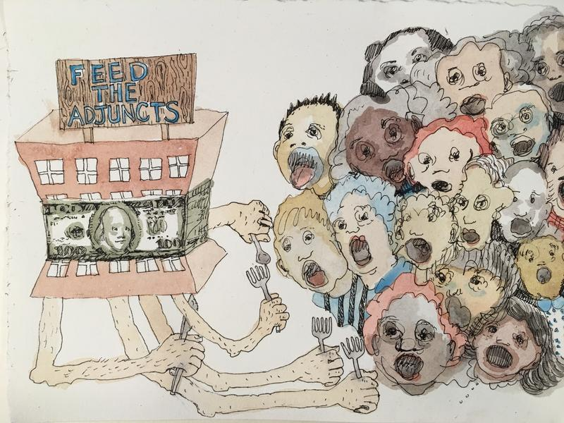 Colleen Kelsey, Feed the Adjuncts, 2016 ink and watercolor on paper 6 h x 8 inches