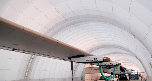 Solar Impulse in the traveling hangar.