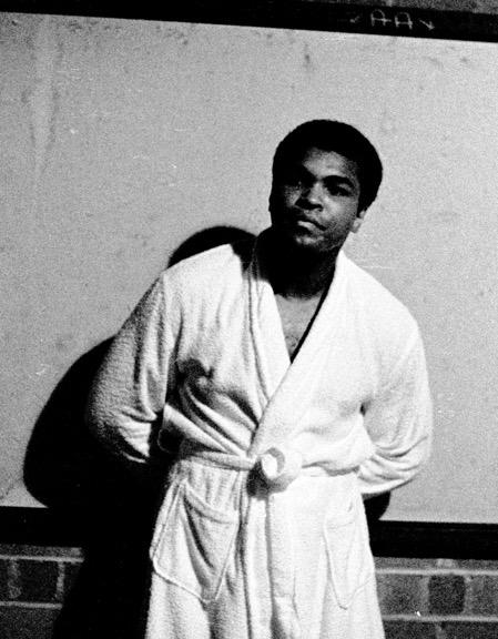 Muhammed Ali in the locker room beneath Welcome Stadium, June 25, 1971