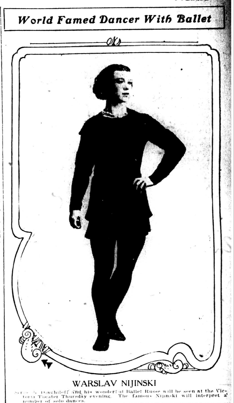 Vasilav Nijinsky, a celebrity dancer with the Ballets Russes. His picture appeared in the Dayton Daily News on February 4, 1917.