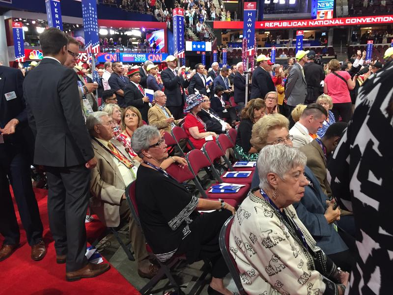 Ohio's Republican delegates begin to gather on the convention floor ahead of the roll call vote.