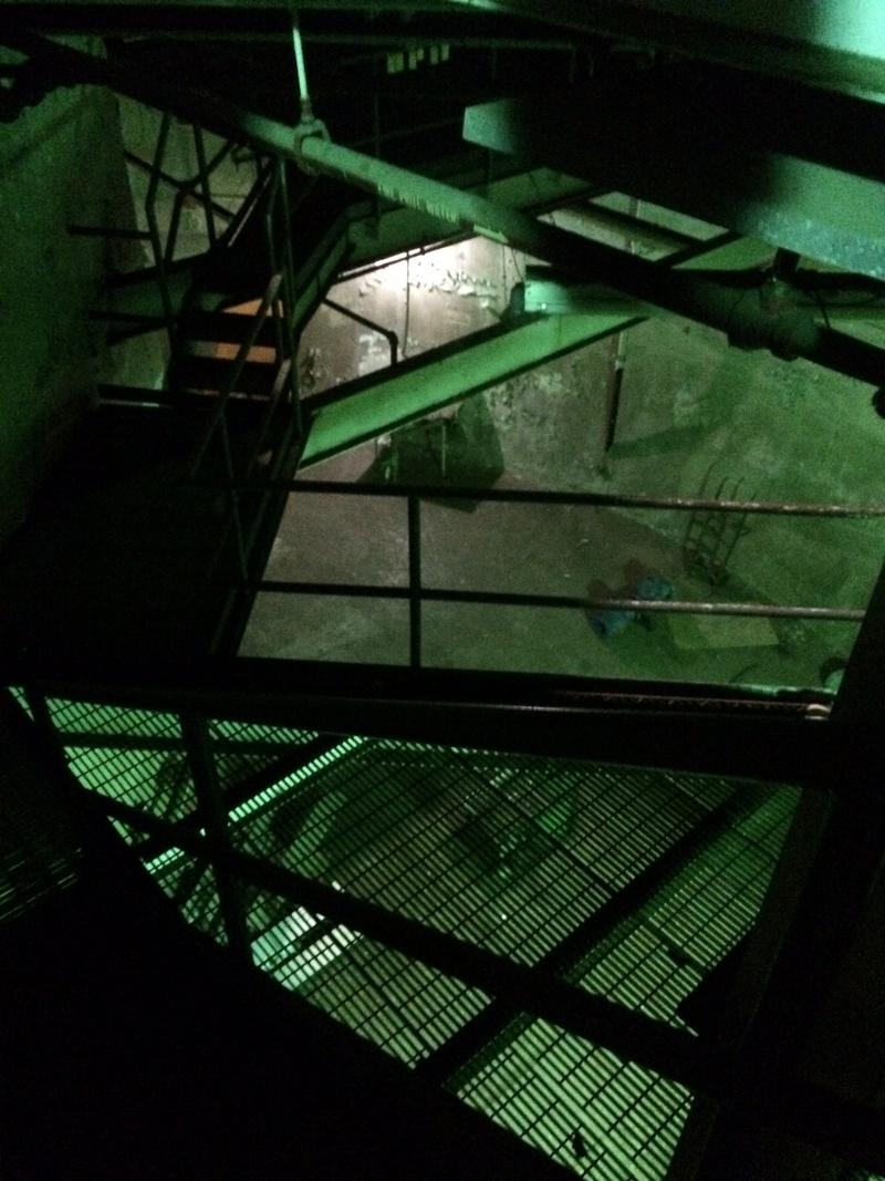 Looking down at the bottom of the abandoned reactor core. The core is three stories underground.