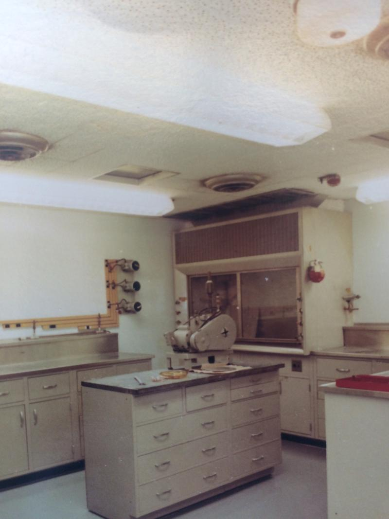 The health physics lab in the reactor's auxiliary building. Water from the plant was tested here for radioactivity. This photo was taken shortly after the closing of the reactor.