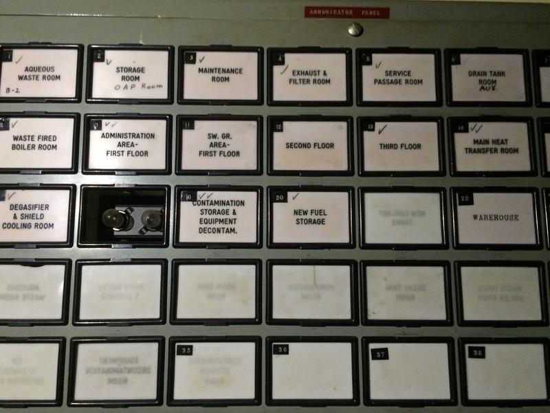 Annunciator panel from the reactor's control room.